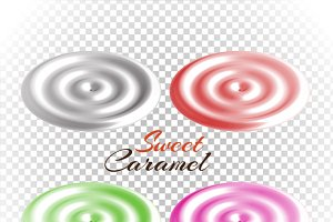 Sweet Caramels Set Design Flat
