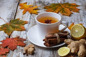 Ginger, lemon and cup of tea