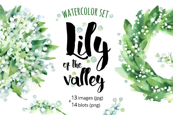 Lily Of The Valley Watercolor Illustrations Creative Market