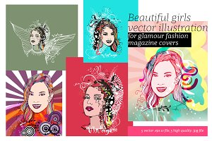 Beautiful Girls Vector Illustrations