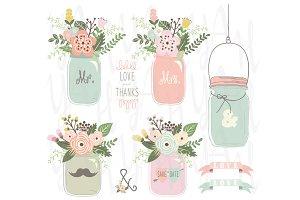 Vintage Floral Mason Jar Set