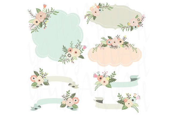 Rustic Floral Frame Elements Illustrations Creative Market
