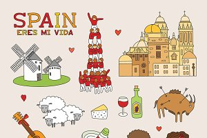 Spain travel doodle art