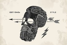 Poster of skull hipster label