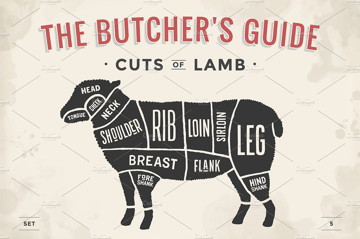 Cut of meat set. Butcher sheme. Lamb ~ Illustrations ~ Creative Market