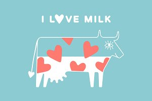 Happy cow full of milk and hearts