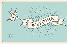 Vintage invitation with word Welcome