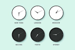 Day and night clock for time zones