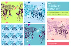 Vector Seamless Patterns/Doodle Fish