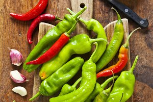 cooking fried hot peppers.
