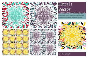 Vector  seamless patterns / Floral 1