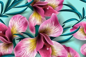 Seamless pattern Iris Flowers