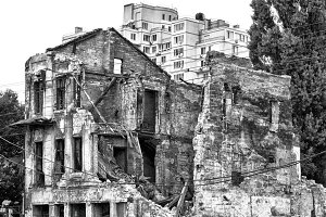 Old ruined house after bombing