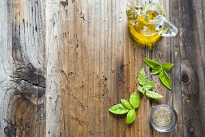 olive oil and basil leaves