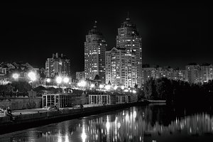 Lights of night city black and white