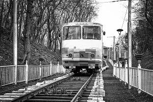 White funicular train b/w