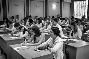 Students at lecture black and white
