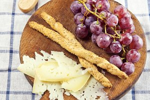 cheese snack on a wooden board