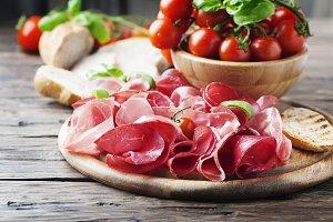 Italian antipasto with ham