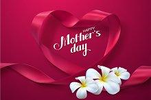 Happy Mothers Day. Ribbon Heart