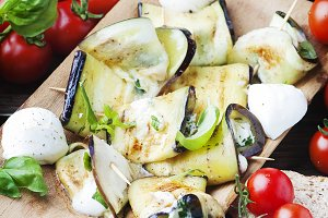 Vegetarian eggplant with mozzarella