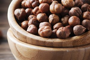 Raw healthy hazelnut