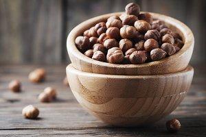 Raw healthy hazelnut