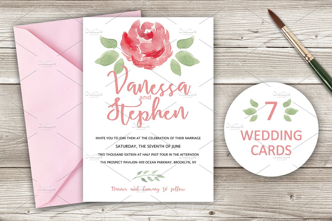 Wedding Invitations Pack 7 cards ~ Invitation Templates ~ Creative ...