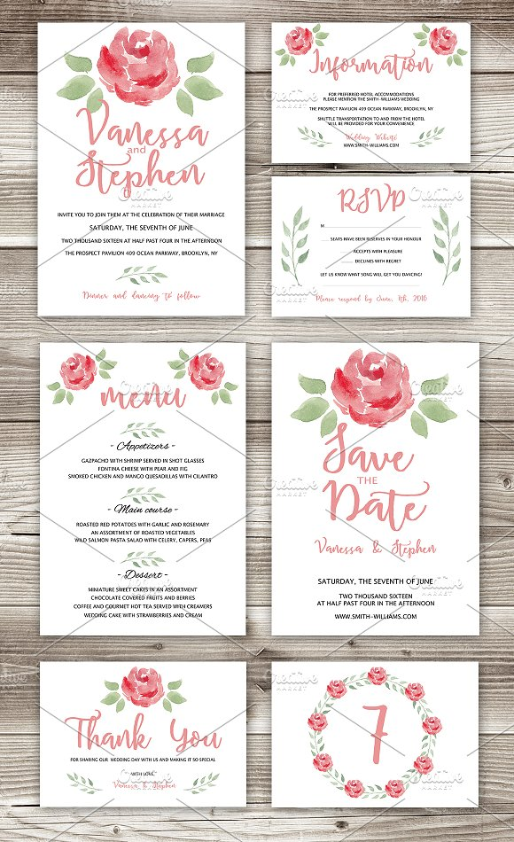 Wedding Invitations Pack 7 cards ~ Invitation Templates ~ Creative ...