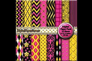 Pink Yellow Embossed Digtial Paper