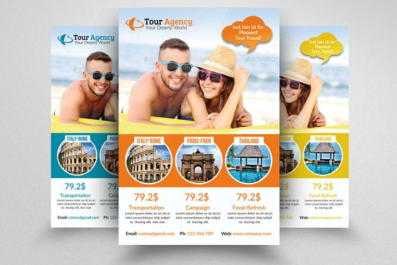 6 Tour Travel Agency Flyers Bundle Flyer Templates Creative Market