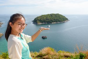 Girl on Windmill viewpoint