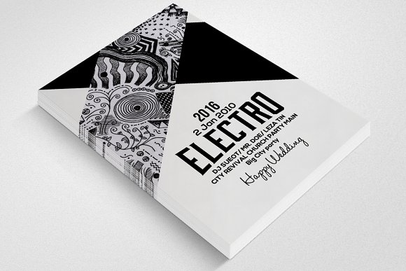 Electro Party Flyer Template in Templates - product preview 1