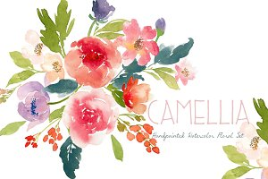 Camillia - Watercolor Floral Set