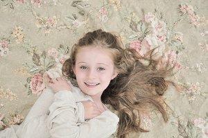 Lovely Girl on Floral Print