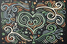 Decorative outline heart with swirls