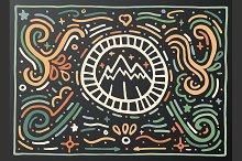 Mountain. Hand drawn vintage print.