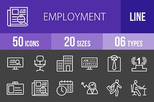 50 Employment Line Inverted Icons