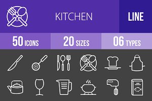 50 Kitchen Line Inverted Icons