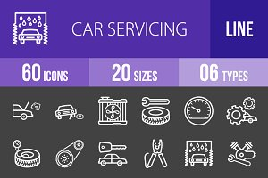 60 Car Servicing Line Inverted Icons