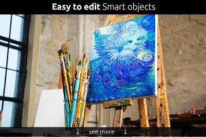 Art Canvas Realistic Studio Mock-Up