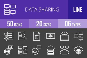 50 Data Sharing Line Inverted Icons