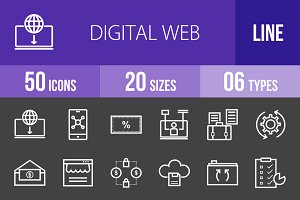 50 Digital Web Line Inverted Icons