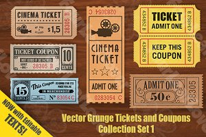 Vector Grunge Tickets and Coupons 1