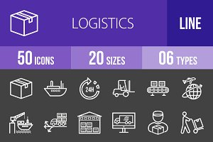 50 Logistics Line Inverted Icons