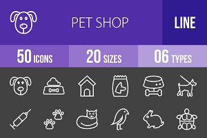 50 Pet Shop Line Inverted Icons