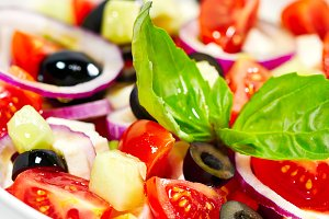 Greek salad with bright vegetables