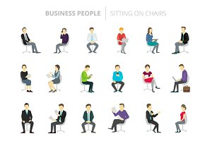 People set work sitting on chairs
