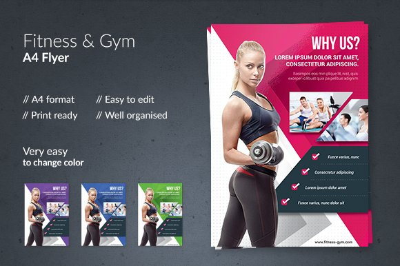 fitness gym flyer flyer templates creative market. Black Bedroom Furniture Sets. Home Design Ideas