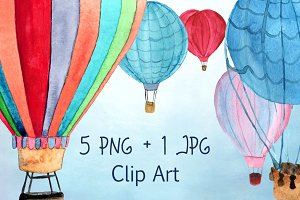 5 Hot Air Balloon PNG+JPEG